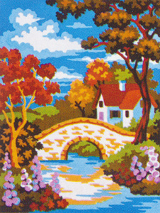 Stone Bridge House  - Collection d'Art Needlepoint Canvas