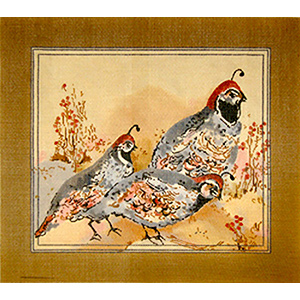 Desert Quails - Hand Painted Needlepoint Canvas by Joy Juarez