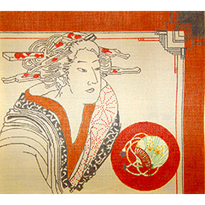 Imari Woman with Fan Insert - Hand Painted Needlepoint Canvas by Joy Juarez