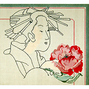 Geisha with Red Poppy - Hand Painted Needlepoint Canvas by Joy Juarez