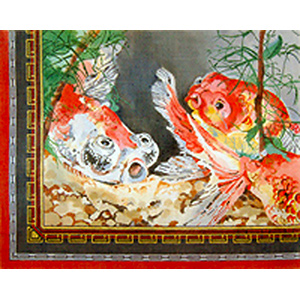 Koi Fish Pond - Hand Painted Needlepoint Canvas by Joy Juarez