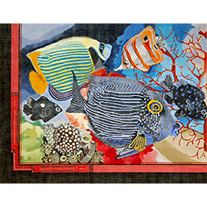 Hand Painted Design Printed Needlepoint Canvas Beautiful Colorful tropical fish