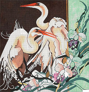 Two White Egrets with Purple Orchids - Hand Painted Needlepoint Canvas by Joy Juarez