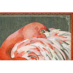 Sleeping Flamingo - Hand Painted Needlepoint Canvas by Joy Juarez