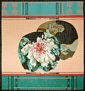 Tree Peony  on Coral Background - Hand Painted Needlepoint Canvas by Joy Juarez