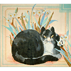 Killer the Cat in Narcissus Bulbs - Hand Painted Needlepoint Canvas by Joy Juarez