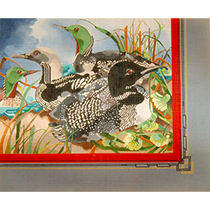Loon Composition - Hand Painted Needlepoint Canvas by Joy Juarez