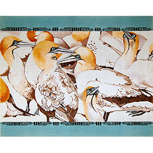 Sea Gannets - Hand Painted Needlepoint Canvas by Joy Juarez