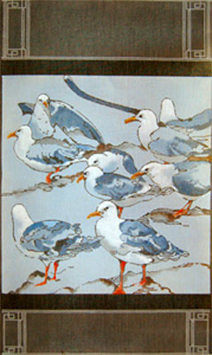 Seagulls Tapestry - Hand Painted Needlepoint Canvas by Joy Juarez