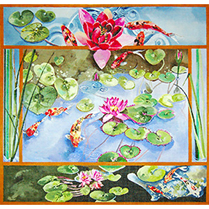 Water Lilies and Koi - Hand Painted Needlepoint Canvas by Joy Juarez