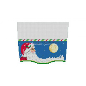 Susan Roberts Needlepoint Designs - Hand-painted Christmas Stocking Topper - Moonlit Santa