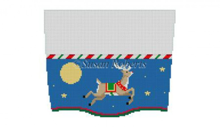 Susan Roberts Needlepoint Designs - Hand-painted Christmas Stocking Topper - Flying Reindeer