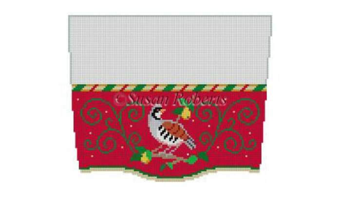 Susan Roberts Needlepoint Designs - Hand-painted Christmas Stocking Topper - Partridge