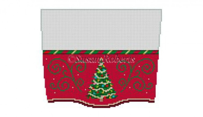 Susan Roberts Needlepoint Designs - Hand-painted Christmas Stocking Topper - Christmas Tree