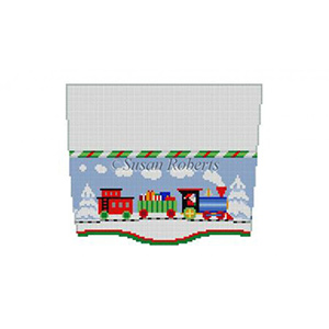Susan Roberts Needlepoint Designs - Hand-painted Christmas Stocking Topper - Train