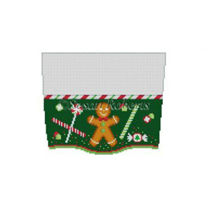 Susan Roberts Needlepoint Designs - Hand-painted Christmas Stocking Topper - Gingerbread and Candy