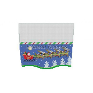 Susan Roberts Needlepoint Designs - Hand-painted Christmas Stocking Topper - Sleigh, 8 Reindeer at Night