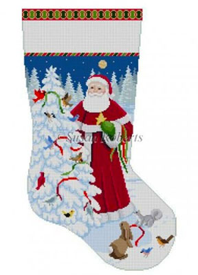 Susan Roberts Needlepoint Designs - Hand-painted Christmas Stocking - Birds and Santa