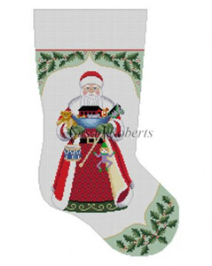 Susan Roberts Needlepoint Designs - Hand-painted Christmas Stocking - Holly with Santa
