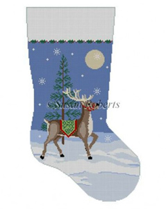 Susan Roberts Needlepoint Designs - Hand-painted Christmas Stocking - Moonlit Reindeer Stocking