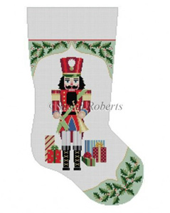 Susan Roberts Needlepoint Designs - Hand-painted Christmas Stocking - Holly with Nutcracker