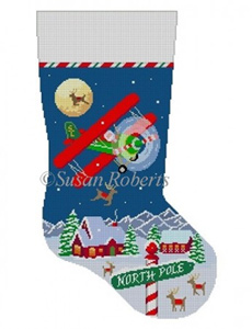 Susan Roberts Needlepoint Designs - Hand-painted Christmas Stocking - Night Flight, Bi Plane