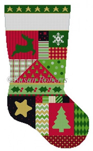 Susan Roberts Needlepoint Designs - Hand-painted Christmas Stocking - Star Patchwork