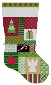 Susan Roberts Needlepoint Designs - Hand-painted Christmas Stocking - Heart Patchwork