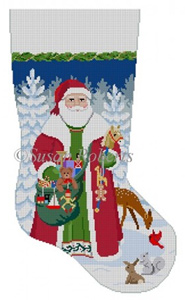 Susan Roberts Needlepoint Designs - Hand-painted Christmas Stocking - Woodland Santa