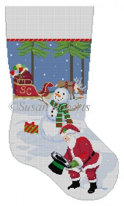 Susan Roberts Needlepoint Designs - Hand-painted Christmas Stocking - Snowman's Hat & Santa
