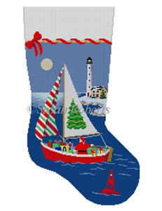 Susan Roberts Needlepoint Designs - Hand-painted Christmas Stocking - Sailing Santa