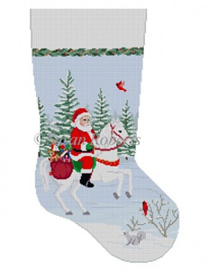 Susan Roberts Needlepoint Designs - Hand-painted Christmas Stocking - Santa on Horse