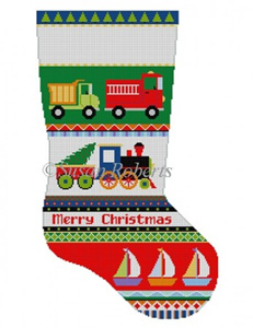 Susan Roberts Needlepoint Designs - Hand-painted Christmas Stocking - Bold Stripe, Trucks, Train, Boats