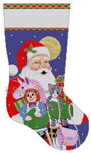 Susan Roberts Needlepoint Designs - Hand-painted Christmas Stocking - Girl, Unicorn, Rag Doll, Kitten, Purse Stocking