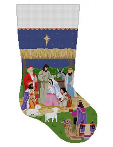 Susan Roberts Needlepoint Designs - Hand-painted Christmas Stocking - Nativity Stable
