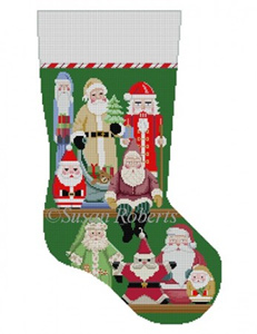 Susan Roberts Needlepoint Designs - Hand-painted Christmas Stocking - Santa Collection