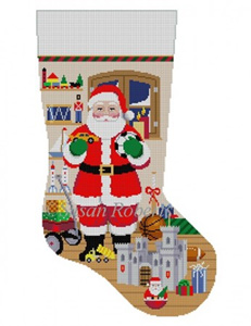 Susan Roberts Needlepoint Designs - Hand-painted Christmas Stocking - Santa with Castle, Boy Toys