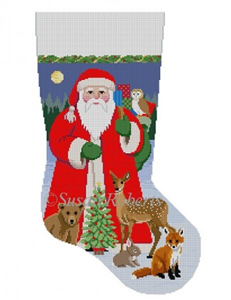 Susan Roberts Needlepoint Designs - Hand-painted Christmas Stocking - Santa with Baby Forest Animals