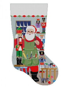 Susan Roberts Needlepoint Designs - Hand-painted Christmas Stocking - Santa Painting Nutcracker