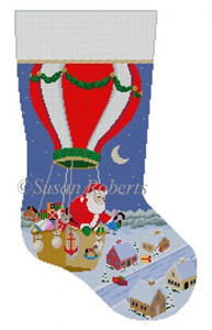 Susan Roberts Needlepoint Designs - Hand-painted Christmas Stocking - Hot Air Balloon Delivery