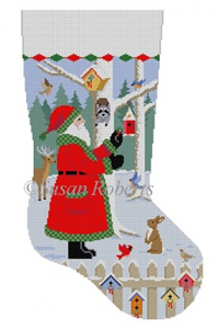 Susan Roberts Needlepoint Designs - Hand-painted Christmas Stocking - Santa with Bird Wreaths