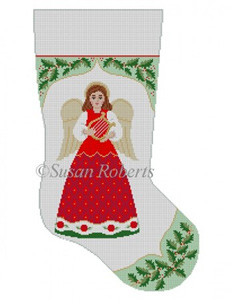Susan Roberts Needlepoint Designs - Hand-painted Christmas Stocking - Holly with Angel
