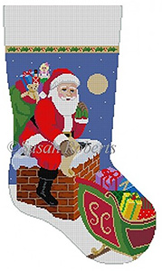 Susan Roberts Needlepoint Designs - Hand-painted Christmas Stocking - Down the Chimney