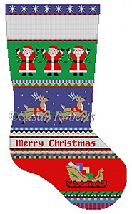 Susan Roberts Needlepoint Designs - Hand-painted Christmas Stocking - Bold Stripe, Reindeer