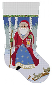 Susan Roberts Needlepoint Designs - Hand-painted Christmas Stocking - Lantern Walk