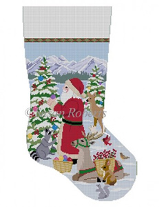 Susan Roberts Needlepoint Designs - Hand-painted Christmas Stocking - Decorating the Trees