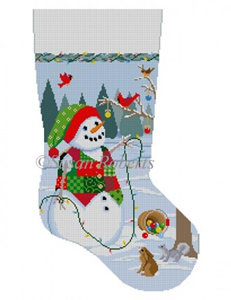Susan Roberts Needlepoint Designs - Hand-painted Christmas Stocking - Snowman with Lights
