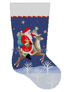 Susan Roberts Needlepoint Designs - Hand-painted Christmas Stocking - Santa Collecting Stars