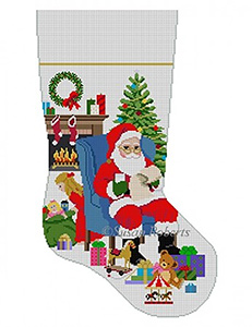 Susan Roberts Needlepoint Designs - Hand-painted Christmas Stocking - Someone's Peeking, Girl