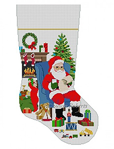 Susan Roberts Needlepoint Designs - Hand-painted Christmas Stocking - Someone's Peeking, Boy